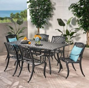 outdoor dining set made out of cast aluminum
