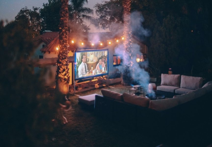 outdoor movie projector and accessories