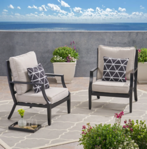 backyard chairs with cushions for a comfortable fire pit seat