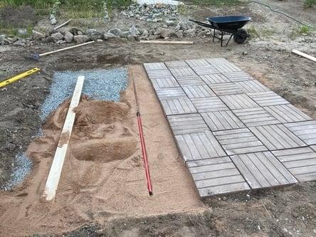 placed concrete pavers over mason sand