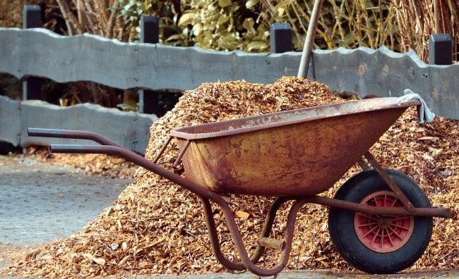 wheelbarrow and mulch