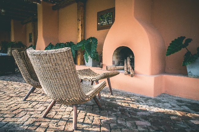 wicker furniture outdoors